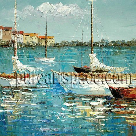 Wholesale palette Hand Painted knife Oil painting Sailboat Blue Sea Canvas oil painting