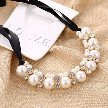 MINHIN Imitation Pearl Chokers Necklace WhiteBlack Beads Rhinestone Ribbon Necklaces & Pendants Statement Necklace For Women ropa interior de encaje negra