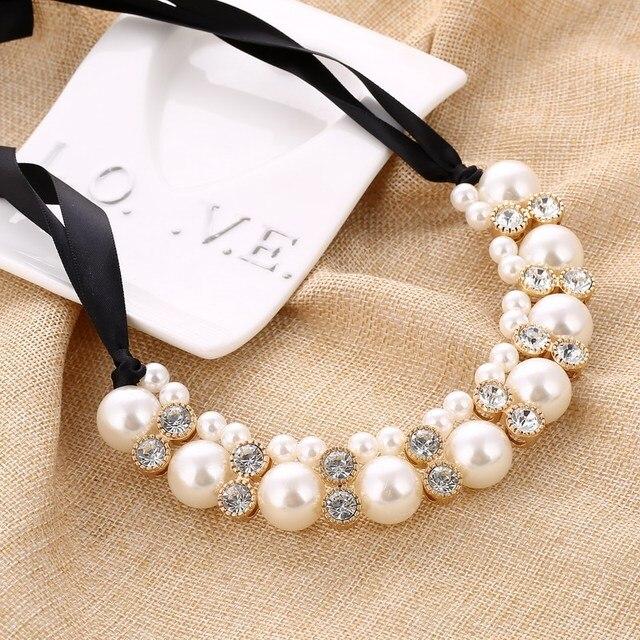 Imitation Pearl Chokers Necklace White/Black Beads Rhinestone Ribbon Necklaces &