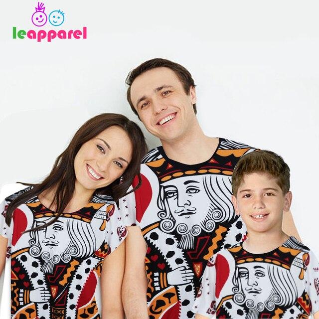Leapparel детей покер Мультфильм Король печатных одинаковые комплекты для семьи популярные футболки детская одежда для мальчиков и девочек повседневные 3D Топы