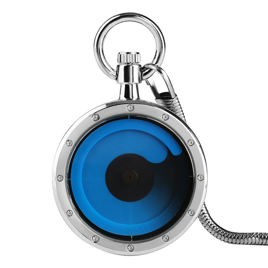 Blue Turntable  Minimalism Design Hollow Movement Quartz Pocket Watch Pendant Gift With Chain Pocket Watches