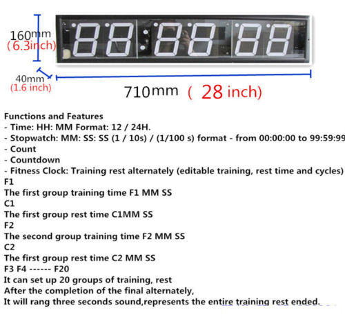 Jumbo 28 inches Large Big Fitness Crossfit Interval Timer