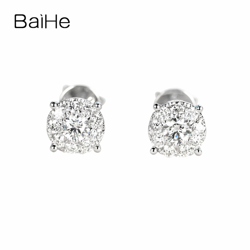 BAIHE Solid 14K White Gold 0.34ct(Total) F-G/SI Genuine Natural Diamonds Engagement Women Trendy Fine Jewelry Gift Stud Earrings 0 28 ct natural diamonds earrings solid 14k white gold snow shape charm jewelry
