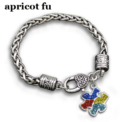 charm bracelets minglou puzzle awareness men piece little love wrap autism hope rhinestone bracelet autistic gear products bangles infinity aspire