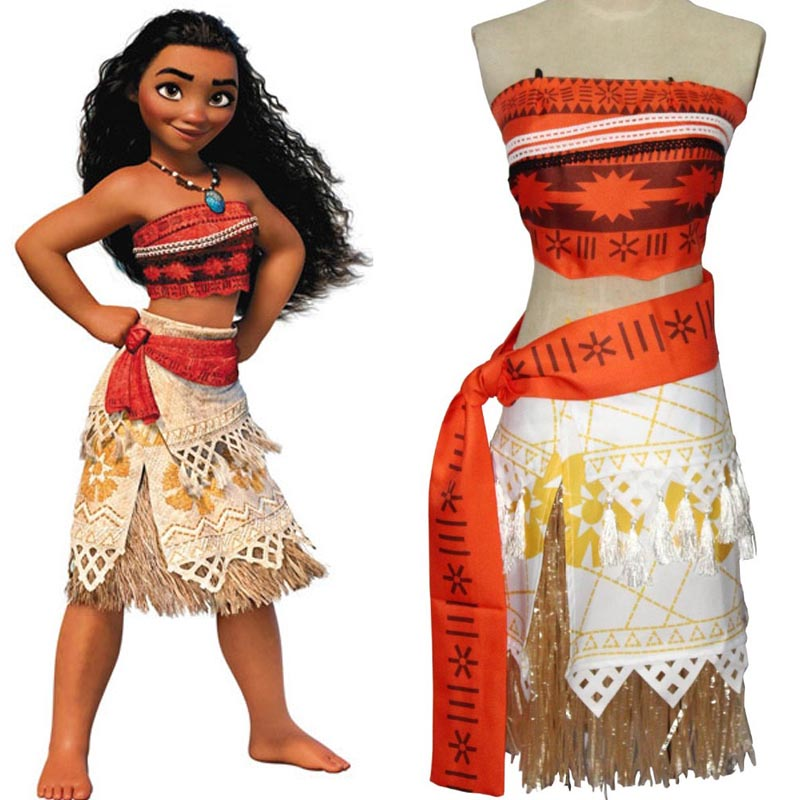 HitmeboxPrincess Moana Costume for Kids Girls Dress Moana Christmas Halloween Costume for Women Adult Cosplay Necklace Wig Skirt