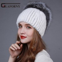 2016 New Style Women Winter Knitted Mink Fur Hat With Fox Fur Pom Poms Top Mink