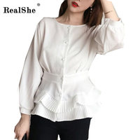 RealShe Sexy White Shirt Women O Neck Lantern Sleeve Button Elegant Women Tops Femme Ruffles Autumn