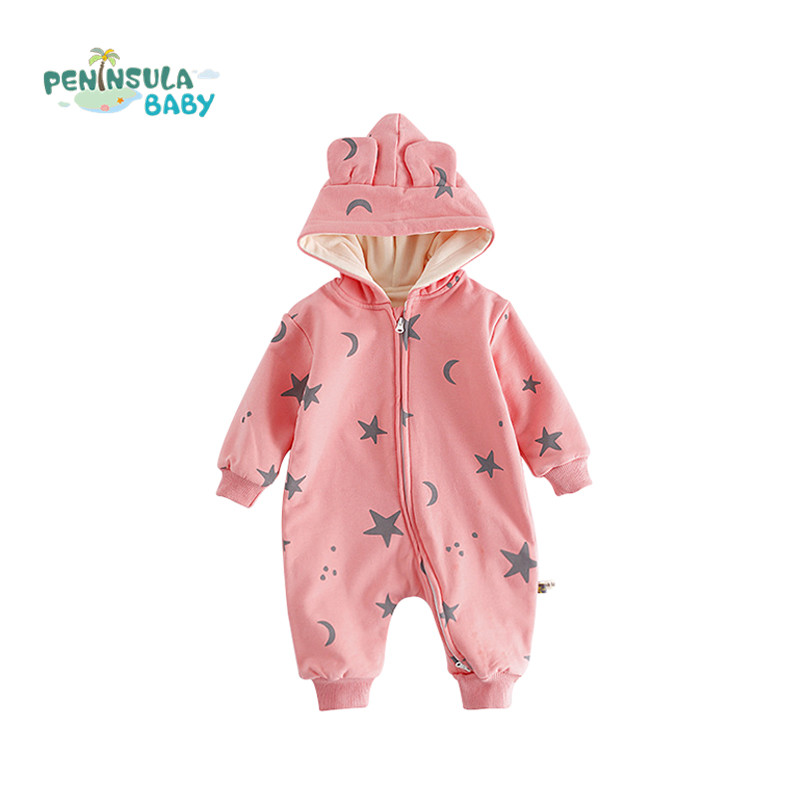 Infant Jumpsuit Long Sleeve Newborn Clothes For Baby Girls Boys Cartoon Cotton Hooded Soft Rompers Winter Plus Velvet Products newborn infant baby girls boys rompers long sleeve cotton casual romper jumpsuit baby boy girl outfit costume