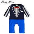 Newborn Baby Boy Rompers Long Sleeve Gentleman Tie Pattern Kids Boys Girls Jumpsuits Infant Striped Casual Leotard  tyh-20436
