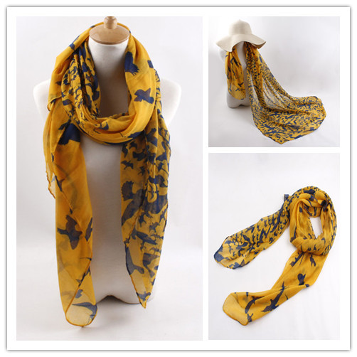 7 Colors High Quality   Scarf   Soft Paris Yarn Seagulls Pattern Patchwork Print Shawl   Wraps   Long Chiffon Women   Scarves