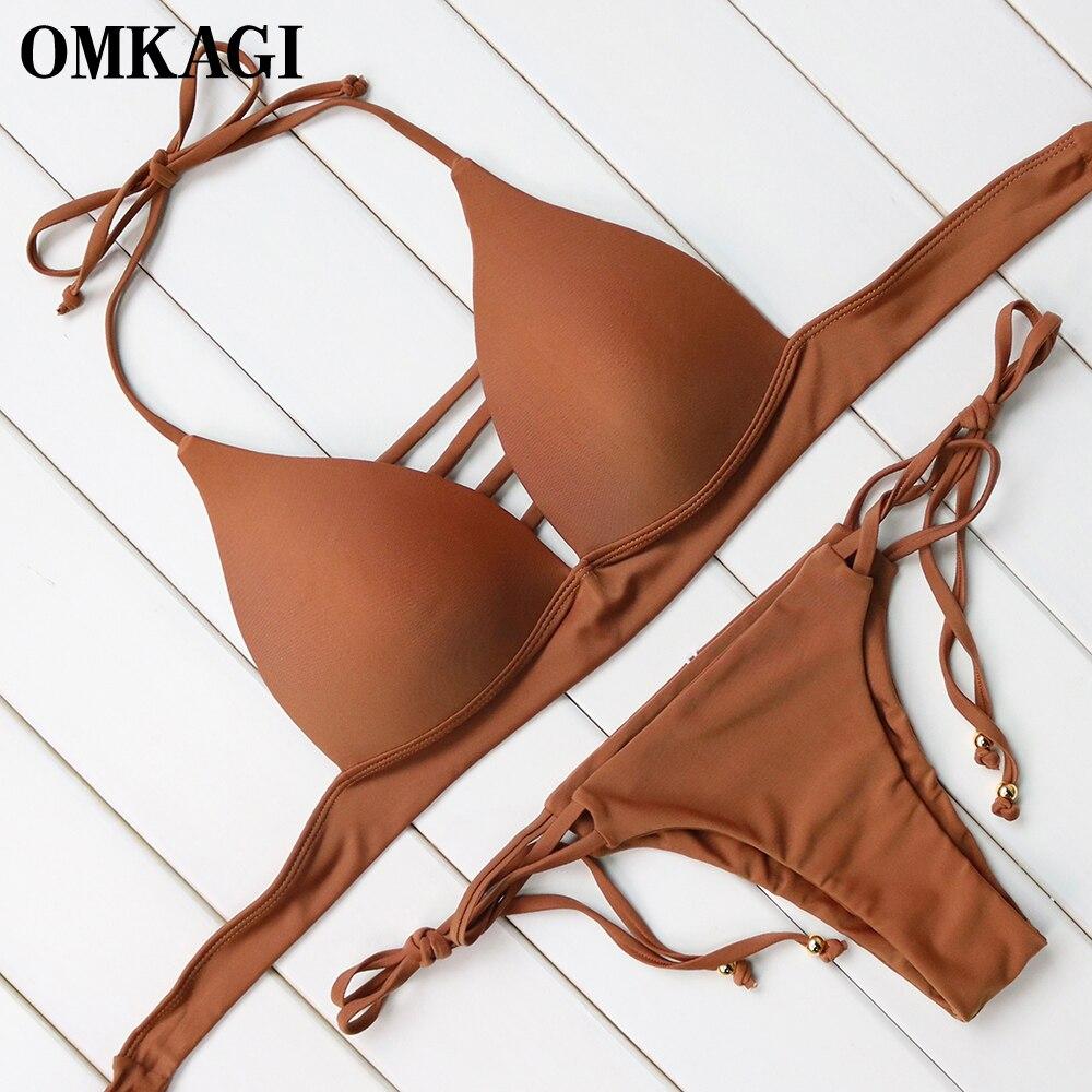 OMKAGI Brand Sexy Push Up Bikini 2018 Swimwear Swimsuit Women Swimming Suit Bathing Suit Beachwear Bandage Bikinis Set  2