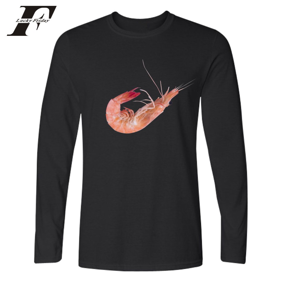 Just Do It Shrimp Funny Print Just Fruit Design Long Sleeve T font b shirt b