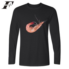 Just Do It Shrimp Funny Print Just Fruit Design Long Sleeve T-shirt Black White Spring Long Sleeve T Shirt Men Cotton XXS 4XL