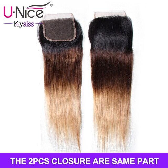 Unice Hair Kysiss Series Brazilian Hair 3PCS Straight Bundles with 2 PCS Closure 4*4 Free Part Closure with Bundles Human Hair 1