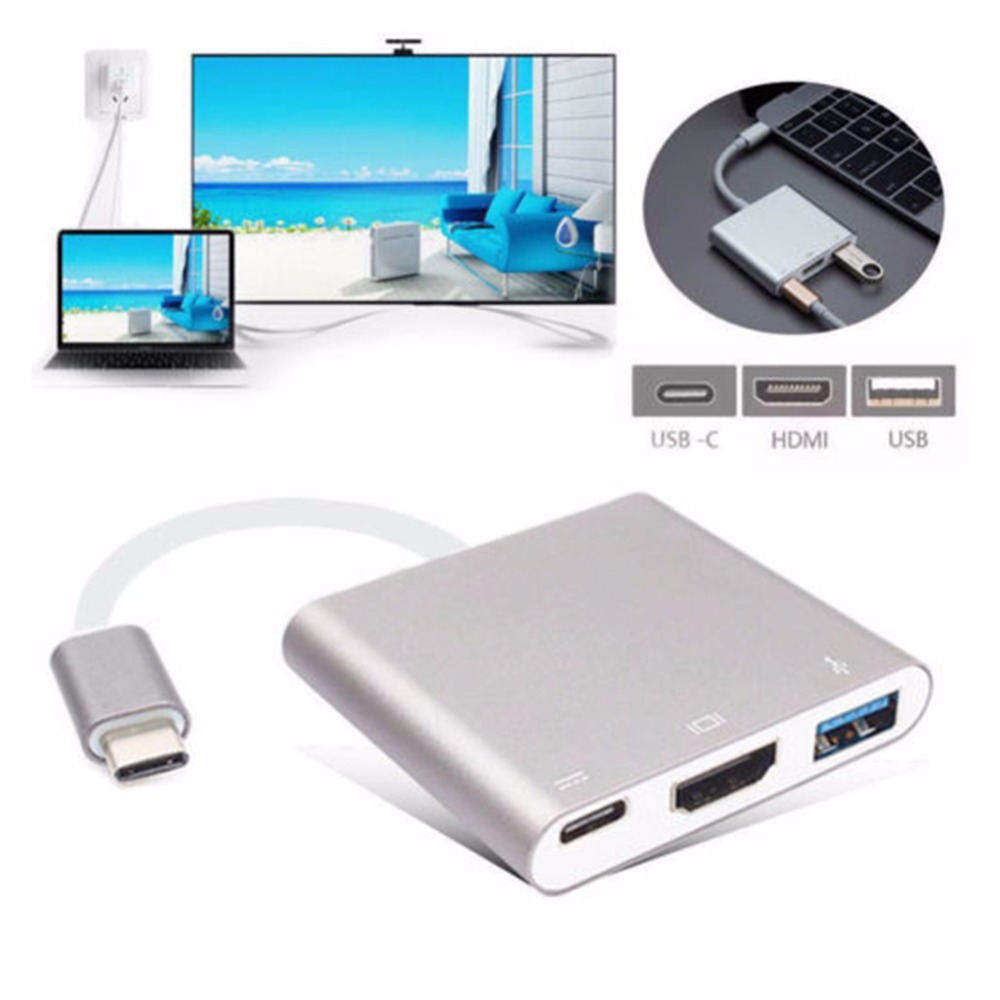3 in 1 Hub Adapter USB3.1 Type C to HDMI + USB3.0 USB-C Converter Cable Support 4K Ultra HD 1080P 3D For Apple Macbook Pro Air