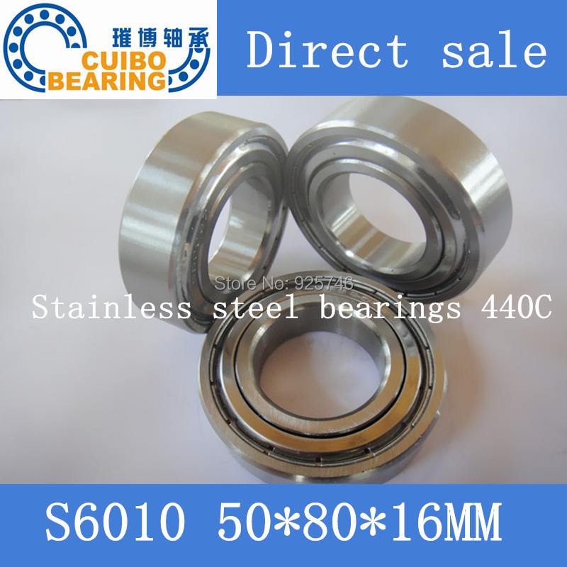 Free Shipping 1PC S6010ZZ Stainless Steel Bearing 50x80x16 Miniature 6010ZZ  Ball Bearings S6010 free shipping 10pcs mr62zz mr63zz mr74zz mr84zz mr104zz mr85zz mr95zz mr105zz mr115zz mr83zz miniature bearing