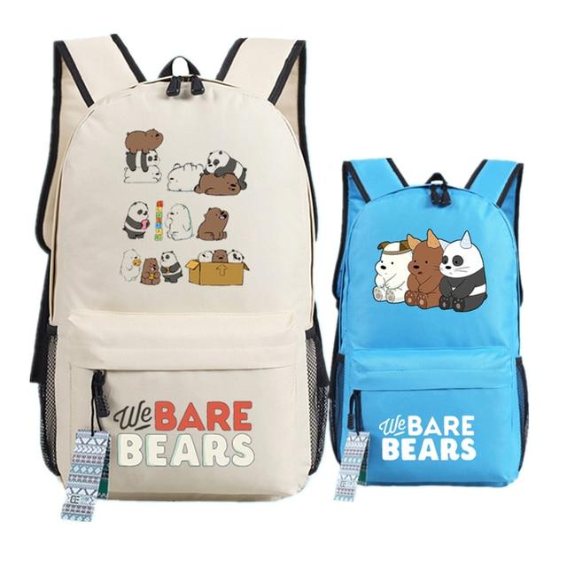 ac35c207378b We Bare Bears Printing Backpacks for Teenage Girls Denim Cute Grizzly Panda  Ice Bear Canvas School