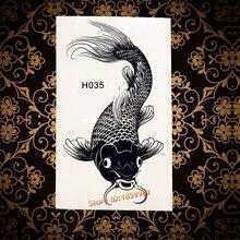 3D Inspired Black Carp Tattoos Men And Women Waterproof Big Temporary Tattoo Stickers Fake Tattoo Fish Designs Temporary Tattoos