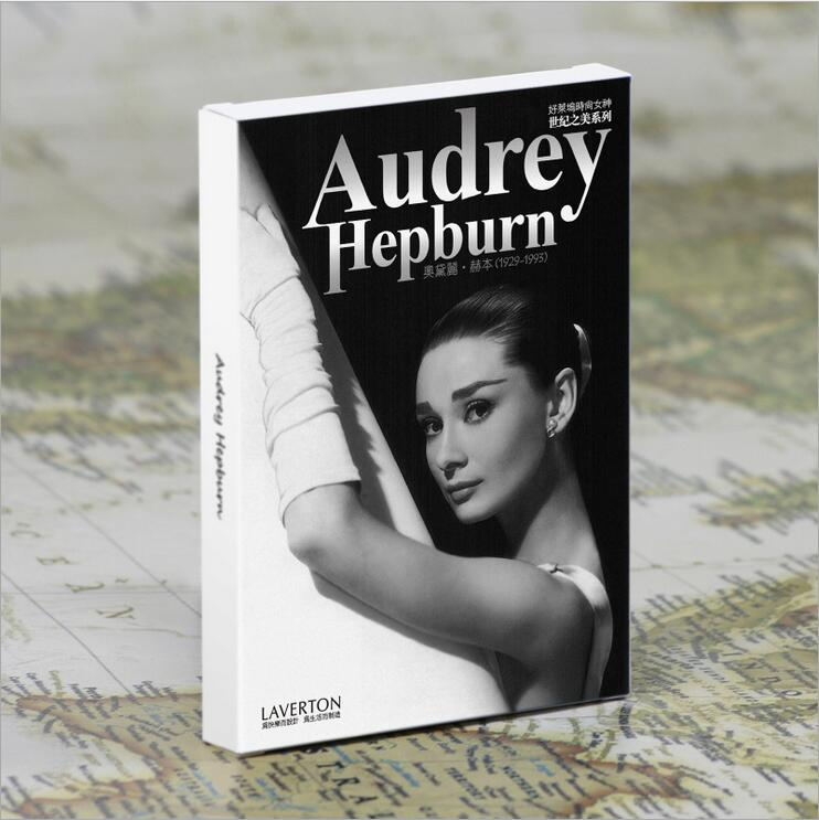 30pcs/lot Vintage high quality Audrey Hepburn postcard 300g paper for gift Hollywood classic retro greeting cards 30pcs in one postcard take a walk on the go dubai arab emirates christmas postcards greeting birthday message cards 10 2x14 2cm