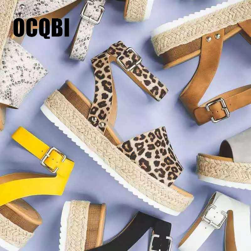 Frauen Sandalen Gladiator Wohnungen Sandalen 2019 Sommer Schuhe Peep Toe Gelb Schlange Leopard Frauen Plattform Alias Mujer Größe 35- 43