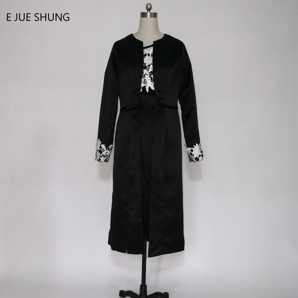 E JUE SHUNG Black Satin Lace Tè Lunghezza madre della Abiti Da sposa Con  Lunghi Giacca Formale Abiti Da Sera robe de soiree a7865d71bff2