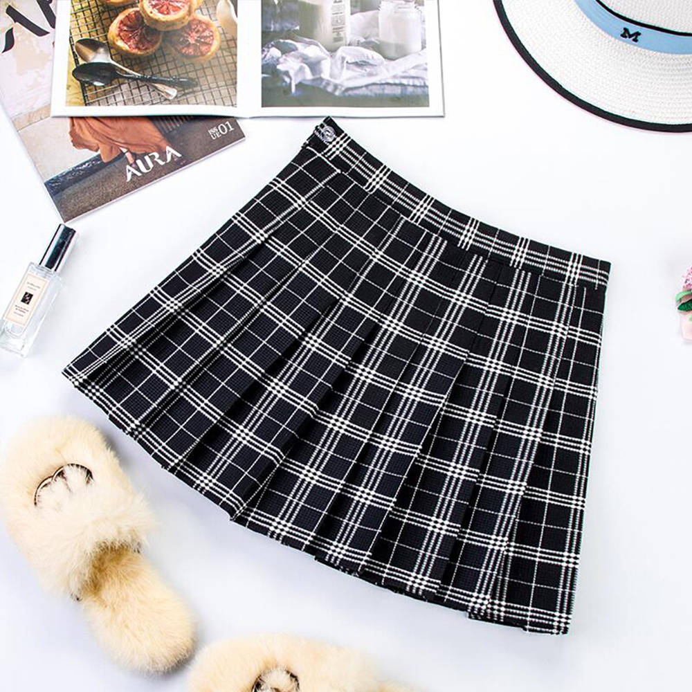 Plus Size Harajuku Short Skirt New Korean Plaid Skirt Women Zipper High Waist School Girl Pleated Plaid Skirt Sexy Mini Skirt 15