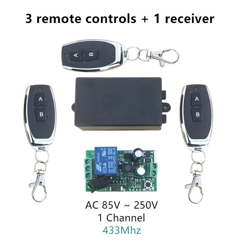 433Mhz Universal Wireless Remote Control Switch AC 110V 220V 1 Channel Relay Receiver Module and 3pcs RF 433 Mhz Remote Controls