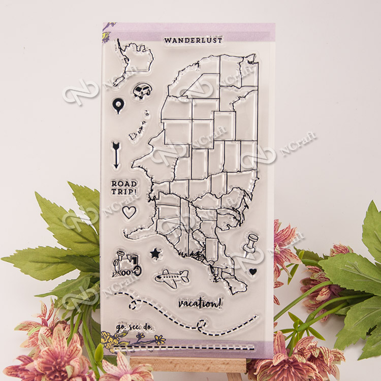 1 Sheet The map Transparent Clear Silicone Stamps for DIY Scrapbooking/Card Making/Kids Fun Decoration Supplies Flower kscraft butterfly and insects transparent clear silicone stamps for diy scrapbooking card making kids fun decoration supplies