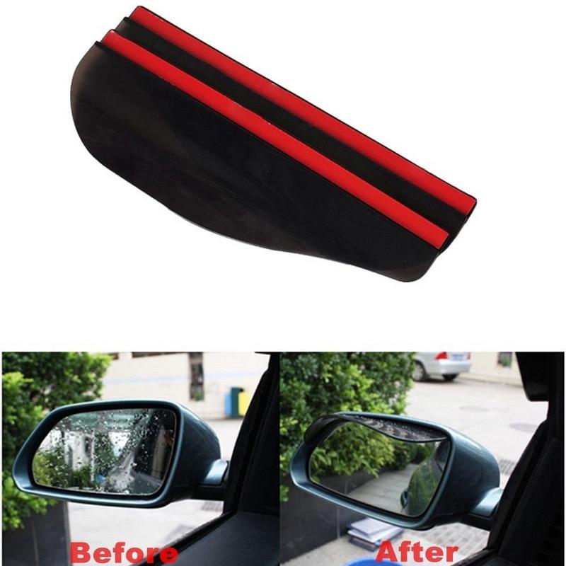 2pc Black Car Auto Rearview Mirrors Sunvisor Shade Rain Shield Flexible Guard