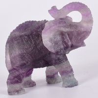 Gems Crafts Statue 4 Inch Vivid Elephant Figurine Purple Fluorite Hand Carved Animal Crystal Gemstone Carving healing Art Decor