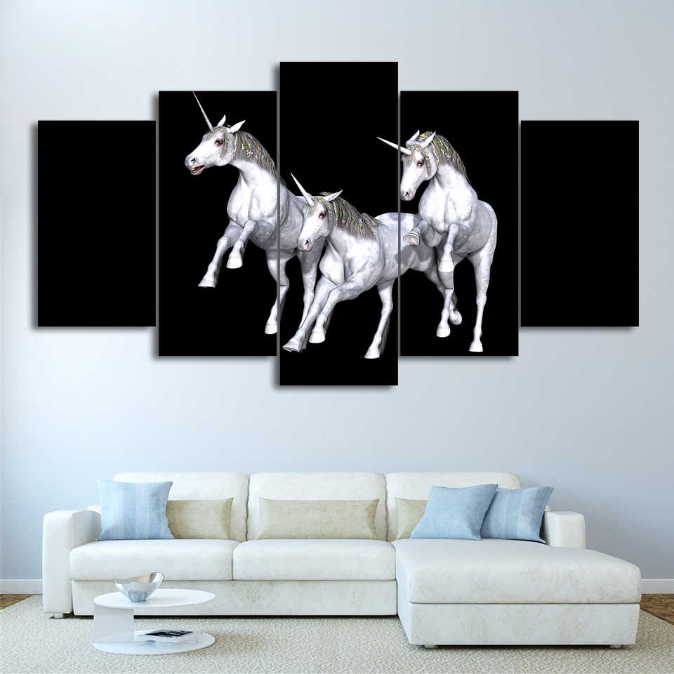 Poster Living Room Home Decoration Modular Pictures 5 Set Prints Spray Painting Animal Wolf Modern Style HD Wall Artwork Canvas