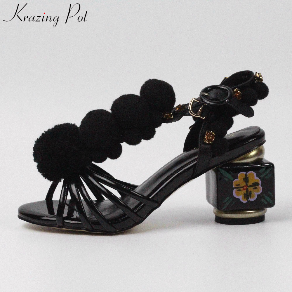Krazing Pot 2018 Chinese Style Brand Summer Shoes Flowers Ankle Strap Buckle Women Sandals Peep Toe Crystal Luxury Shoes L71