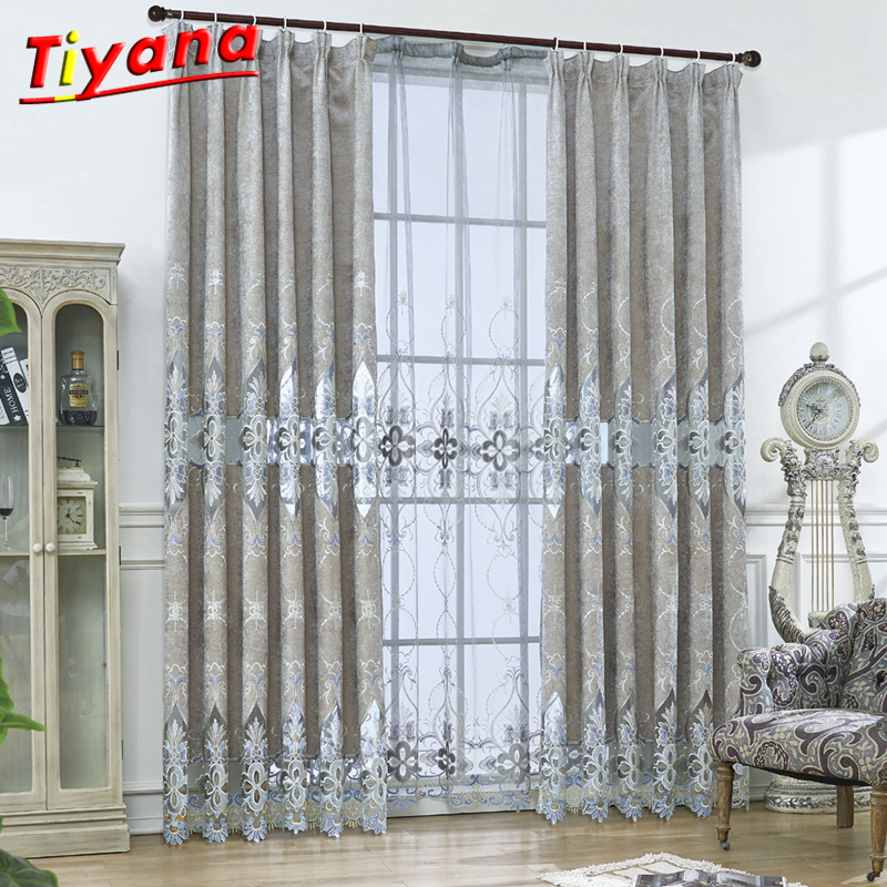 US $13.03 34% OFF|Embroidered European Grey Royal Luxury Curtains for  Bedroom Window Curtains for Living Room Elegant Drapes Curtains WP078#30-in  ...