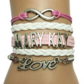 Infinity /Love/ Mary Kay Bracelet- Custom Handmade Pink with White Velvet Leather Braided Company Team Gifts