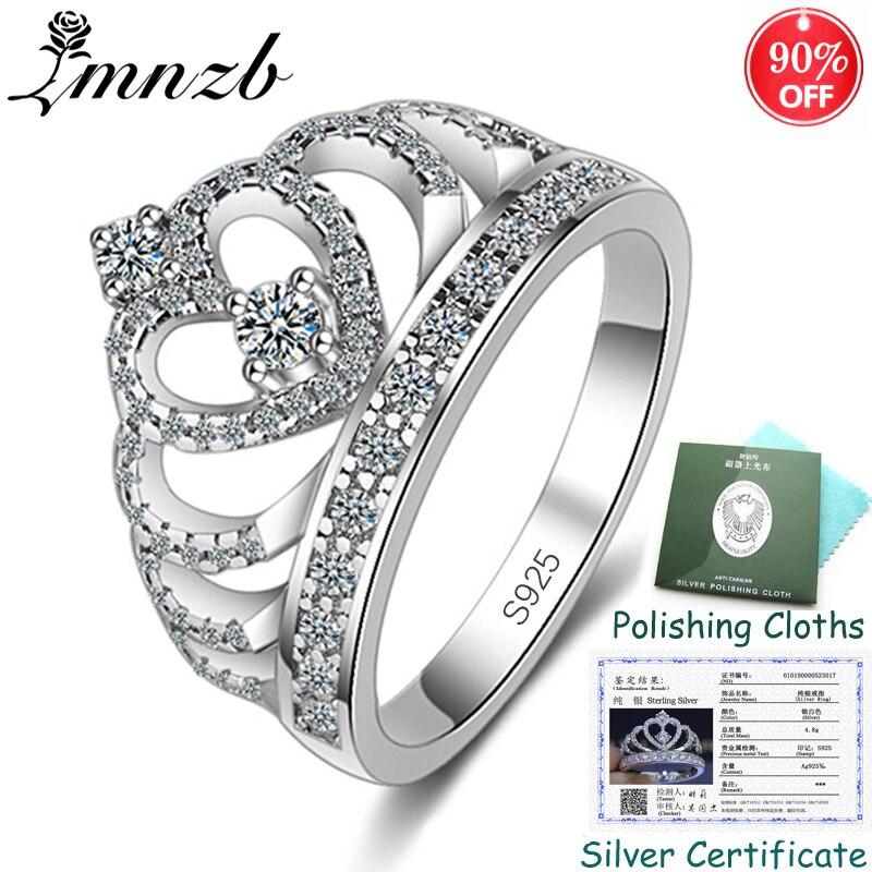 Envoyé Certificat! Femmes réel 925 solide argent couronne anneau cubique Zircon princesse reine bagues de fiançailles bijoux de mariage ZSRA017