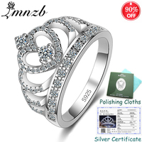 Sent Certificate! Women Real 925 Solid Silver Crown Ring Cubic Zircon Princess Queen Engagement Rings Wedding Jewelry ZSRA017