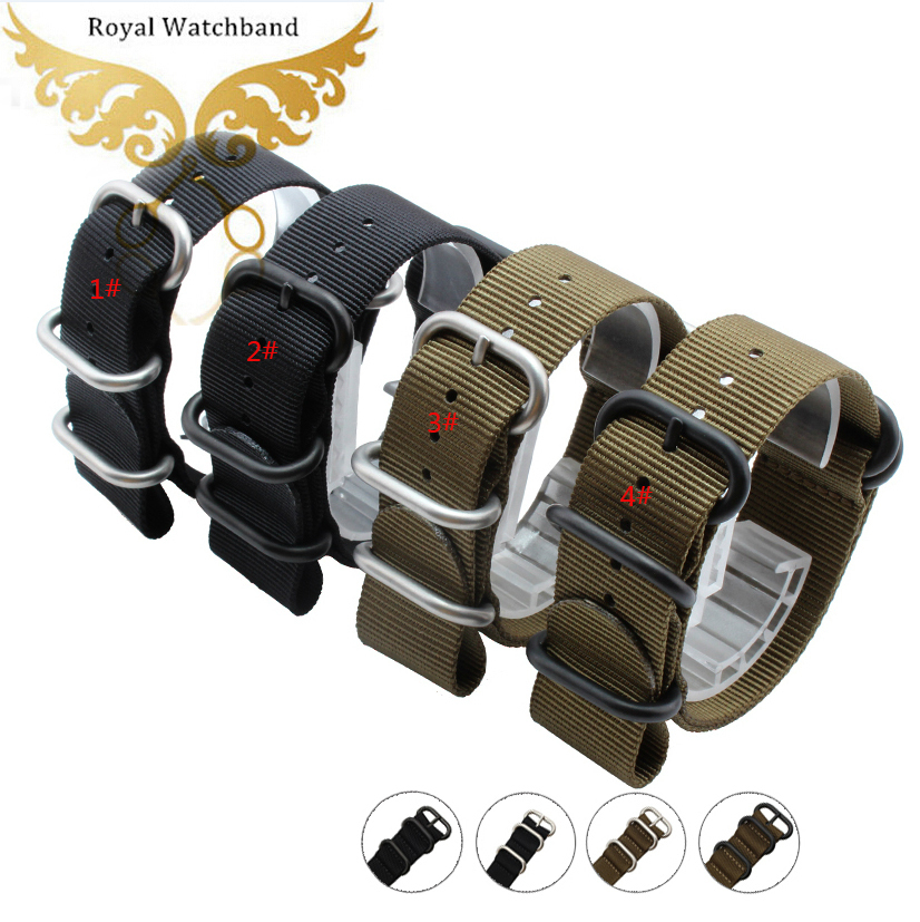 Watchbands 18mm 20mm 22mm 24mm ZULU NATO Military Watch Strap Band Druable Heavy Duty Nylon Divers Brushed Watch Buckle