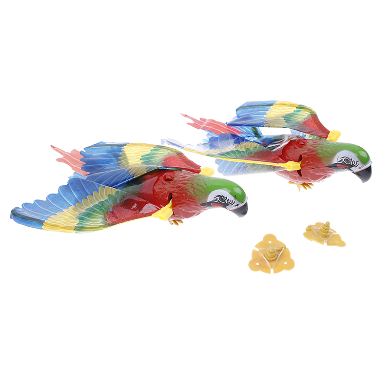 Electronic Pets Colorful Parrot Pet Bird Toy Plastic Electric Sound Fly Wing Talking Lovebird Animals Battery Power Toys For Children Gift Relieving Heat And Sunstroke Toys & Hobbies