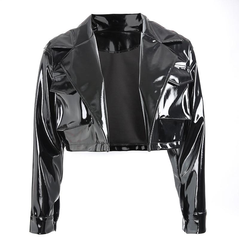 Women Slim PU Leather Motorcycle Jacket European Station Suit Coat Top