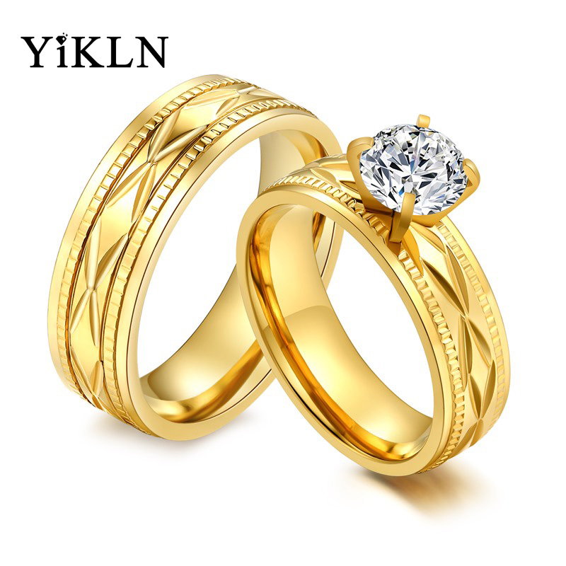 YiKLN Stainless Steel Cubic Zirconia Couple Rings For Men Women Gold Color Engagement Wedding Band Ring Jewelry Anneau JCR041