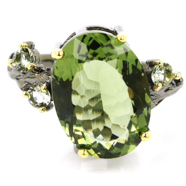 8.25# Sublime Antique Green Amethyst Ladies Wedding Black Gold 925 Silver Ring 18x16mm