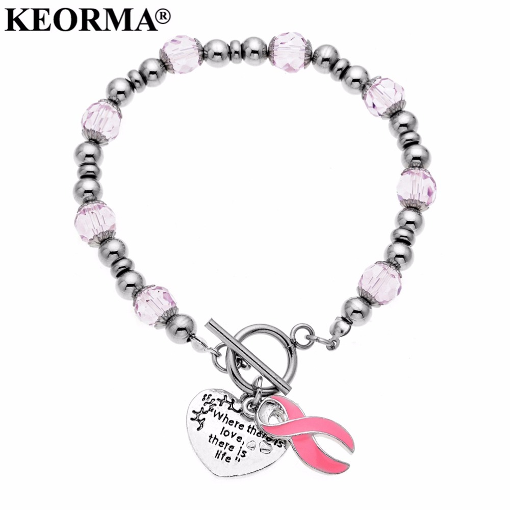 KEORMA stainless steel Awareness Ribbon Charms Bracelets Heart engraved Where There Is Love there is life Women Stretch Jewelry