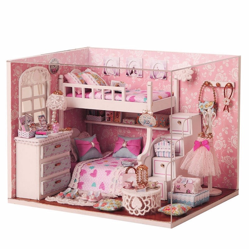 New Arrival Cuteroom DIY Wood Dollhouse Kit Miniature With Furniture Doll House Room Angel Dream Best