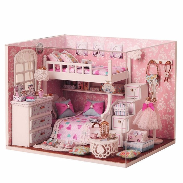 Us 1599 New Arrival Cuteroom Diy Wood Dollhouse Kit Miniature With Furniture Doll House Room Angel Dream Best Birthday Gift For Girls In Doll