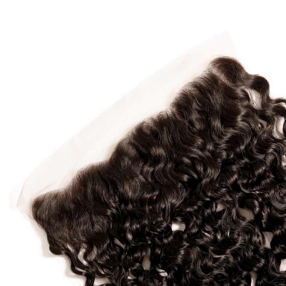 Stema 13x4 cierre Frontal de malla 8-22 pulgadas pelo brasileño de onda profunda Natural con pelo de bebé 100% de encaje Frontal cabello humano Remy