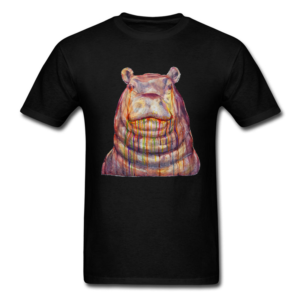 Hippopotamus Watercolor Painting 2018 Men T-shirt Summer Cool Black T Shirt Art Design Male Casual Clothing Size L