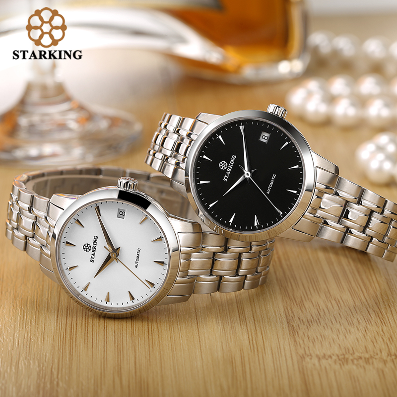 Image 3 - StarKing Classic Women Simple Watch Automatic Stainless Steel White Dial WristWatch Auto Date Ladies Mechanical Relogio Feminino-in Women's Watches from Watches
