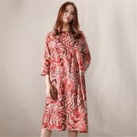 Women Dress Linen Summer Print Casual Midi Dress Long Sleeve Vintage Elegant Dresses Women Clothes 2019 Robe Femme Ds50555