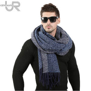 URGENTMAN Men Winter Wool Knitted Cashmere Scarf Long