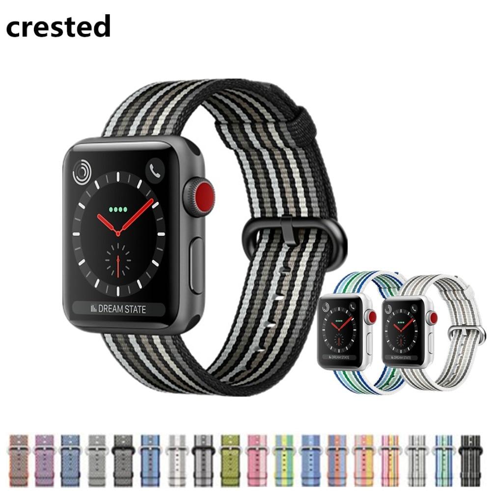CRESTED Woven Nylon strap For Apple Watch band 38mm 42mm iwatch 3 2 1 wrist watch band bracelet belt fabric-like nylon band ремешок apple 38mm pollen woven nylon mpvy2zm a